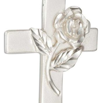 Sterling Silver Cross Pendant With Diamond Cut Rose