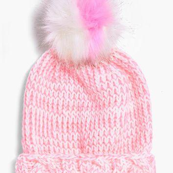 Lottie Stripe Faux Fur Pom Beanie Hat