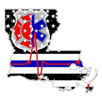 PEAPGQ9 Louisiana First Responder Thin Blue Line Flag Decal Sticker