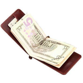Hot Sale Fashion New Men Money Clips Black Brown PU Leather 2 folded Open Clamp For Money With Zipper Pocket Free
