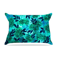 "Ebi Emporium ""Grunge Flowers III"" Teal Floral Pillow Case"