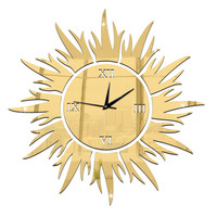 Sun Decoration Wall Clock Mirror Quartz Living Room   golden