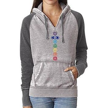 Ladies Chakras Acid Wash Burnout Hoodie