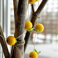 Yellow apple garland  - 30 felt wool balls 8 feet