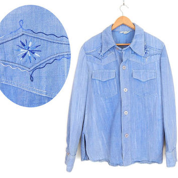 Vintage 70s Men's Embroidered Denim Western Shirt - Size 40 - Faded Blue Denim Button Front Cowboy Shirt - Large