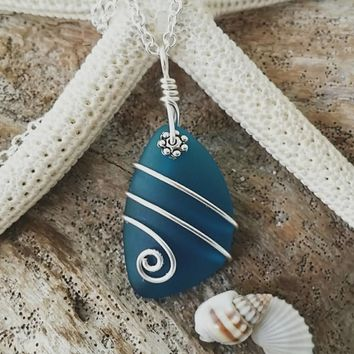 Made in Hawaii, Wire wrapped teal blue sea glass necklace,925 silver chain,gift box,Beach glass jewelry.