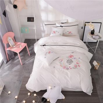 White embroidery Cute Bedding Set cotton Bed Sheet set Twin Queen King size Girls Duvet Cover Bed cover set Jogo de Cama