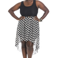Zig Zag High Low Dress