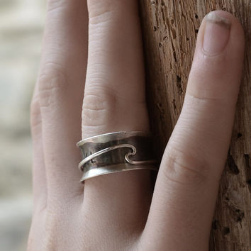 Unique Original Sterling Silver 51 spinner ring, rustic black oxidized silver, eco friendly jewelry band