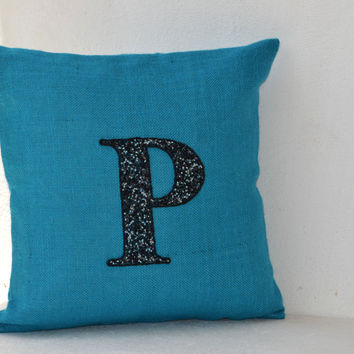 Customized Beads Monogram decorative pillow- Beaded Throw pillows -Blue Burlap pillow cover -Cushion cover 16X16 -Gift -Bead Embroidered
