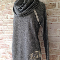 Monogrammed French Terry Cowl Neck Tunic Womens Raw Edge Turtleneck