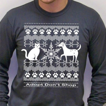 Mens Christmas sweater / Cat Shirt / Mens t shirt / Adopt, cool typography t-shirt / animal rescue, dog shirt, / for him / christmas