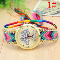 "Women's ""Tree of Life"" Hand Watch with Wool Knitting Golden Chain Bracelet Boho Jewelry"
