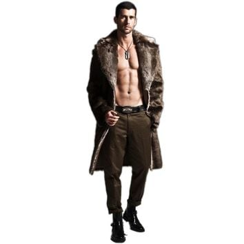 Winter Mens Eco-friendly Faux Fur Coat Jackets Full Length Parka Coats Windbreaker Size 4XL Long Men's Outwear Overcoat