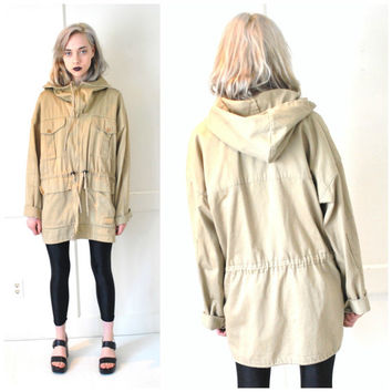 vintage khaki PARKA 80s 90s cargo SAFARI jacket oversized relaxed fit UNISEX cinched drawstring windbreaker os large
