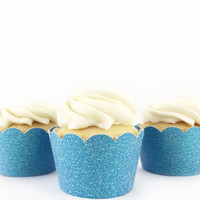 Blue Glitter Cupcake Wrappers - Set of 12 - Party Supplies // Wedding Decorations // Baby Shower