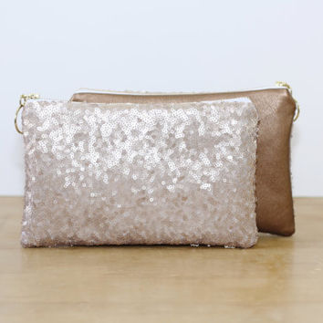 Champagne Sequins and Copper Metallic Leather Clutch / Sparkly Cosmetic Case / Fancy Bridesmaid Gift - Almquist Design Studio