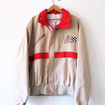 Vintage Miller High Life Beer Racing Checkered Flag Bomber Jacket Sz XL