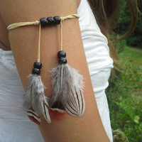 Real, Feather, Armband, Boho, Bohemian, Native, American, style, indian , Turkey Feathers, Indian Warrior, Suede, Arm Tie, tribal armband