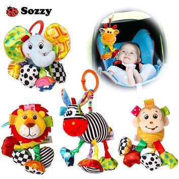 Sozzy Baby Soft Plush Stuffed Pull and Vibrate Car Seat Stroller Crib Mobile Hanging Decorations Funny Baby Toys for Children Gi