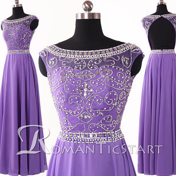 2015 puple long backless chiffon prom dress with beadings,bateau long evening dress, floor-length party dresses,A-line formal dresses,RS1070