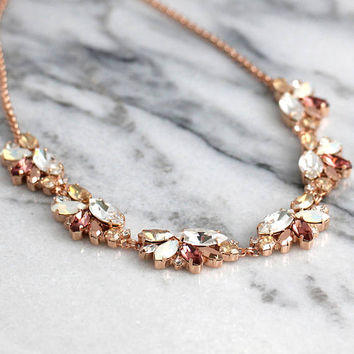 Blush Necklace, Bridal Blush Necklace, Swarovski Crystal Blush Necklace, Morganite Necklace, Bridesmaids Necklaces, Blush Rose Neckalce