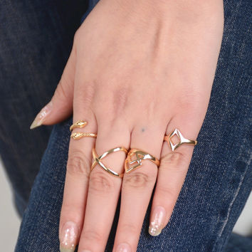 4 pcs/set Vintage Ethnic Bohemian BOHO Ring Snake Geometric diamond-shaped Punk Ring Opening Ring Women Jewelry