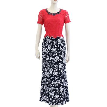 Floral Rose Print Ankle Length Maxi Long Skirts Size S-2XL AV4386