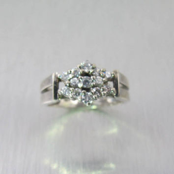 Sterling CZ Diamond Engagement Ring, Vintage Sterling Silver Cubic Zirconia Cluster Promise Ring, Size 7.50