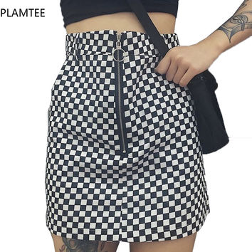 PLAMTEE 2017 Women Fashion Black White Plaid Skirts Etek A-line High Waist Feminina Clothes Package Hips Skirt Female Plus Size