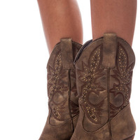 Bronze Embellished Cowgirl Boots