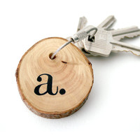 Keychain made with birch wood and cable steel wire by naneHandmade