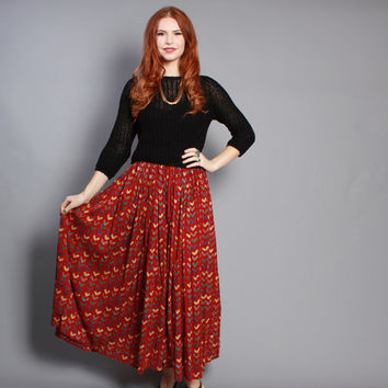 80s Indian Cotton SKIRT / Brick Red Abstract HEARTS Print Full Maxi