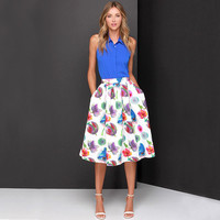 White Floral Print Pleated Mid Skirt