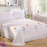 100% Cotton Eco Friendly Multi-Color Embroidered Sunflower And Beetles Bed Sheet Set - No Dyeing, No formaldehyde - Free Shipping