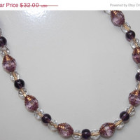 33%OFF Amethyst Catherdal Glass Necklace