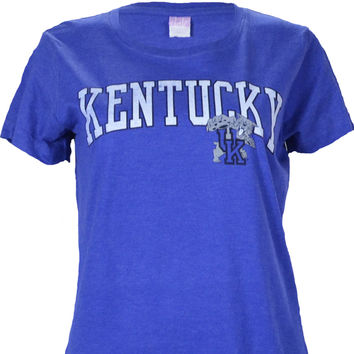 University of Kentucky LADIES FIT DISTRESSED ARCH on HEATHER ROYAL Shirt