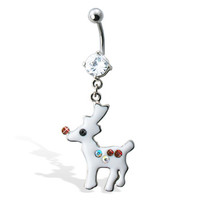 Rudolph Christmas Belly Button Ring