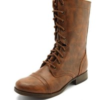 Distressed Lace-Up Combat Boot: Charlotte Russe