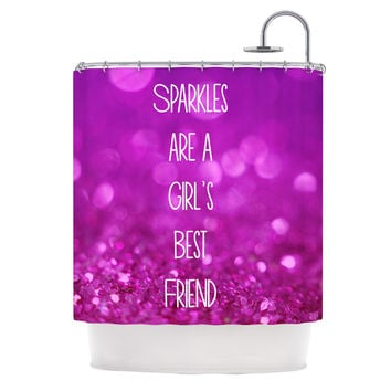 "Beth Engel ""Sparkles are a Girls Best Friend"" Purple Glitter Shower Curtain"