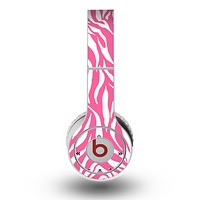 The Pink & White Vector Zebra Print Skin for the Original Beats by Dre Wireless Headphones