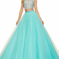 Mint Green Two pieces Quinceanera Dresses Beaded Tulle Vestidos De 15 Anos Sweet 16 Years Stunning Long Debutante Prom Dress