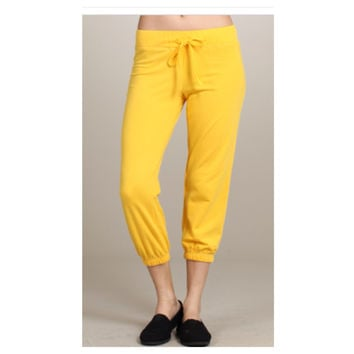 Cute Yoga Cropped Capri Yellow Sweat Pants