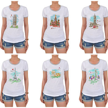 Women Cities's drawing-3 Graphic Printed Short Sleeves T-shirt WTS_06