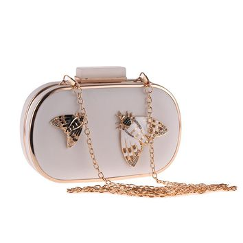 TANGSONGGUCI Butterfly Metal Women Evening Bag Small Party Wedding Day Clutch Shoulder Female Handbags