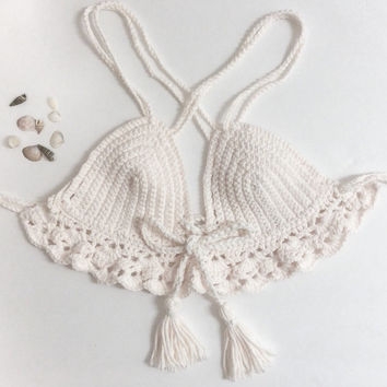 "Crochet crop top MINI ""Monique"" cross back 100% cotton"