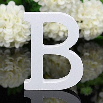 Decorative Wood Letters,Totoo Hanging Wall 26 Letters Wooden Alphabet Wall Letter for Children Baby Name Girls Bedroom Wedding Brithday Party Home Decor-Letters (B)