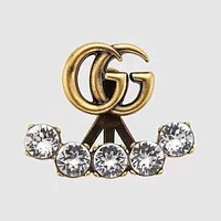 GUCCI 2020 New Rhinestone Double G Letter Earrings