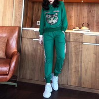 """Gucci"" Women Casual Fashion Hot Fix Rhinestone Cat Head Letter Pattern Long Sleeve Cotton Sweater Trousers Set Two-Piece Sportswear"
