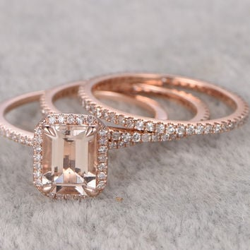 1.2 Carat Emerald Cut Morganite Wedding Set Full Eternity Diamond Bridal Ring 14k Rose Gold Thin Pave Band